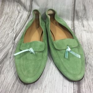 I Crew Green Suede Leather Slip-on Flats
